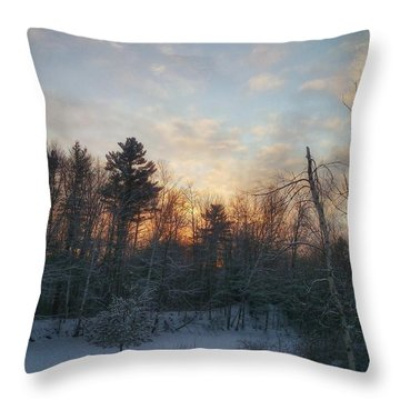 Sundown Winter New England Throw Pillow