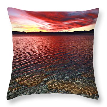 Throw Pillow featuring the photograph Sundown...the Water's Edge by Sean Sarsfield