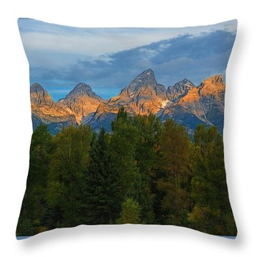 Sundrise On Grand Tetons Throw Pillow