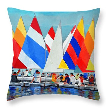 Sunfish Camp Throw Pillow by Keith Wilkie