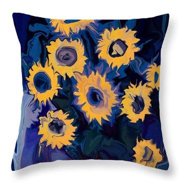 Sunflower 1 Throw Pillow by Rabi Khan