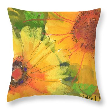 Big Sunflowers Watercolor And Pastel Painting Sf018 By Kmcelwaine Throw Pillow