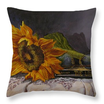 Sunflower And Book Throw Pillow