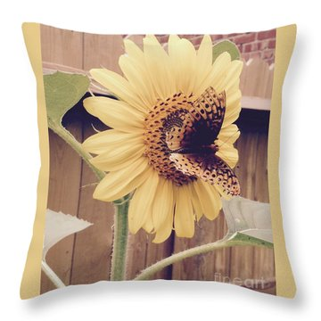 Sunflower And Butterfly Throw Pillow
