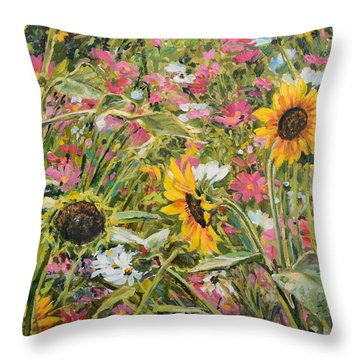 Sunflower And Cosmos Throw Pillow