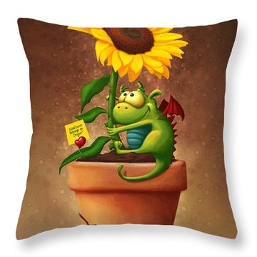 Sunflower And Dragon Throw Pillow