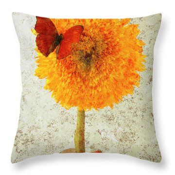 Sunflower And Red Butterfly Throw Pillow by Garry Gay