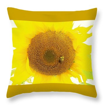 Sunflower And The Happy Bee Throw Pillow
