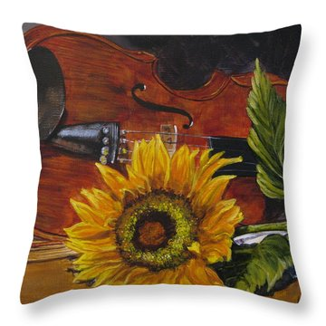 Sunflower And Violin Throw Pillow