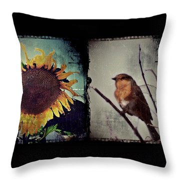 Sunflower Bird Diptych Throw Pillow