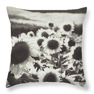 Throw Pillow featuring the photograph Sunflower Black And White 1 by Andrea Anderegg