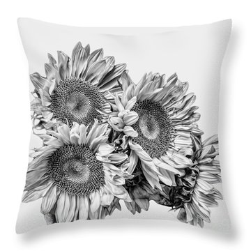 Sunflower Bouquet Bw Throw Pillow
