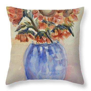 Sunflower Bouquet Throw Pillow by Heather Kertzer