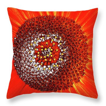 Sunflower Close Throw Pillow