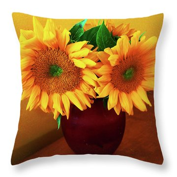 Sunflower Corner Throw Pillow