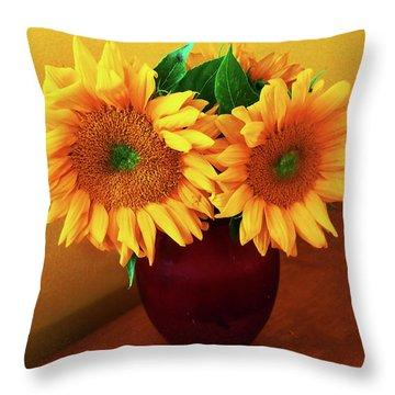 Sunflower Corner Throw Pillow
