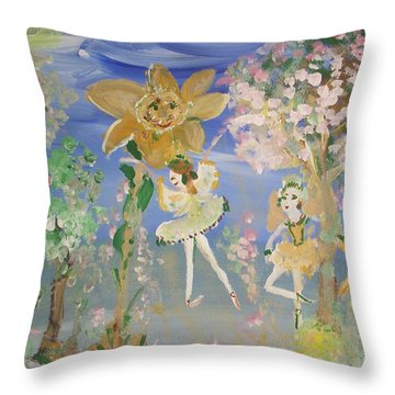 Sunflower Fairies Throw Pillow by Judith Desrosiers