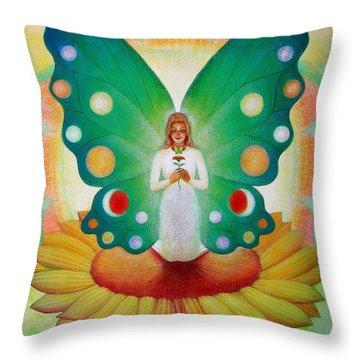 Sunflower Fairy Throw Pillow