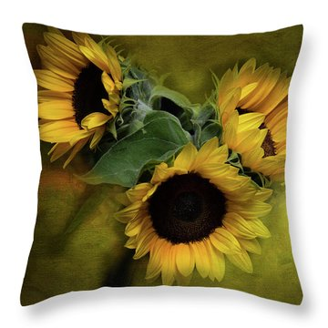 Sunflower Family Throw Pillow