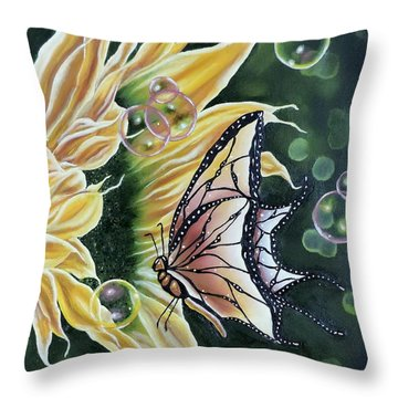 Sunflower Fantasy Throw Pillow