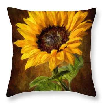 Sunflower Faux Oil Painting Throw Pillow