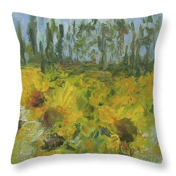 Sunflower Field Throw Pillow by Barbara Andolsek
