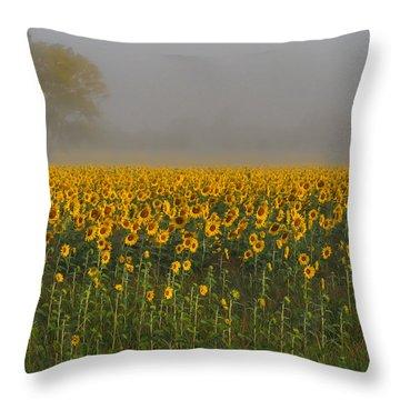 Sunflower Field On A Foggy Morn Throw Pillow