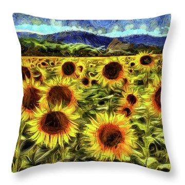 Sunflower Field Van Gogh Throw Pillow