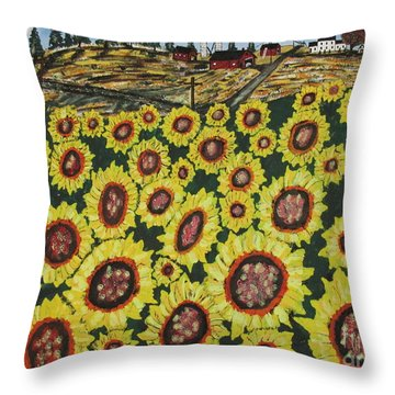 Sunflower Fields  Forever Throw Pillow by Jeffrey Koss
