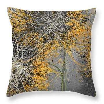 Throw Pillow featuring the painting Sunflower Frenzies - Yellow And Gray Modern Art by Lourry Legarde