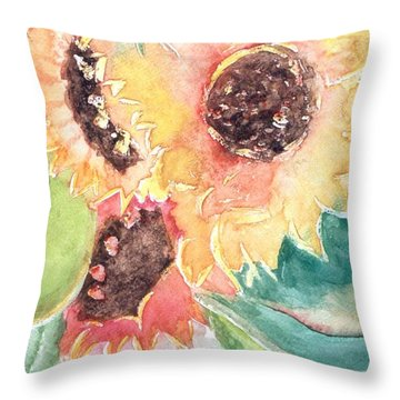 Sunflower Glory Throw Pillow by Renate Nadi Wesley