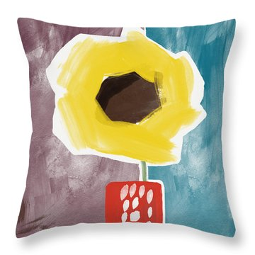 Sunflower In A Small Vase- Art By Linda Woods Throw Pillow