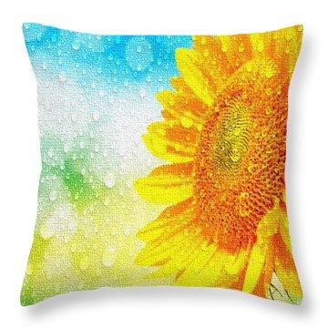 Sunflower In A Sunshower Throw Pillow