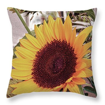 Throw Pillow featuring the painting Sunflower by John Dyess