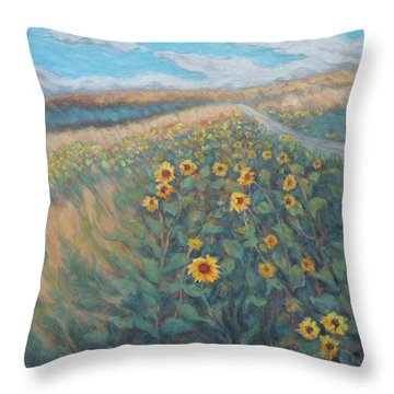 Sunflower Journey Throw Pillow