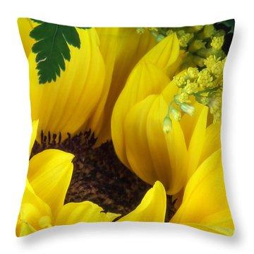 Sunflower Macro Throw Pillow