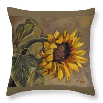 Sunflower Nod Throw Pillow by Cheryl Pass