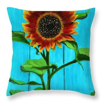 Sunflower On Blue Throw Pillow