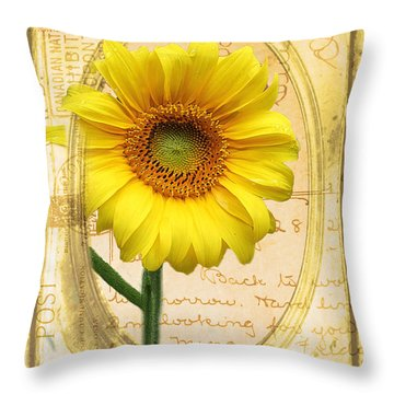 Sunflower On Vintage Postcard Throw Pillow