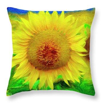 Sunflower Posing Throw Pillow by Jeffrey Kolker
