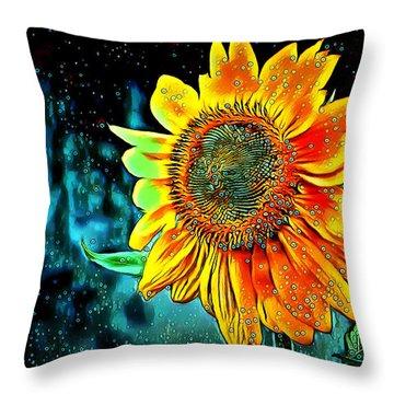 Throw Pillow featuring the digital art Sunflower Rain by Pennie McCracken