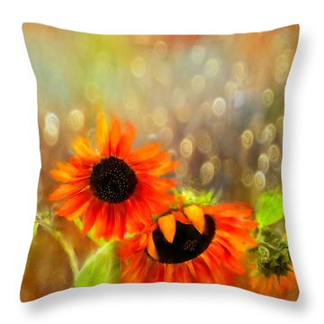 Sunflower Rain Throw Pillow