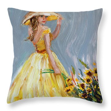 Throw Pillow featuring the painting Sunflower Seduction by Jennifer Beaudet