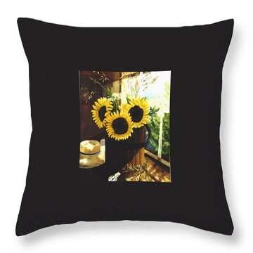 Throw Pillow featuring the painting Sunflower Sill by Renate Nadi Wesley