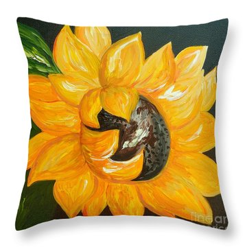 Sunflower Solo Throw Pillow by Eloise Schneider