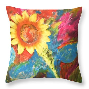 Sunflower Song Throw Pillow by Esther Newman-Cohen