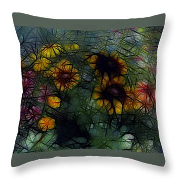 Sunflower Streaks Throw Pillow
