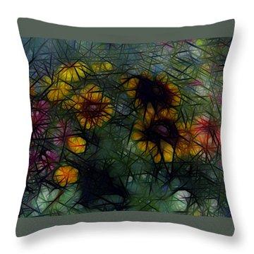 Sunflower Streaks Throw Pillow by Carol Crisafi
