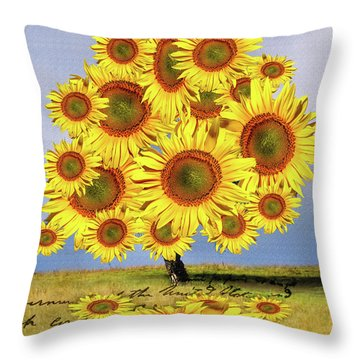 Sunflower Tree Throw Pillow