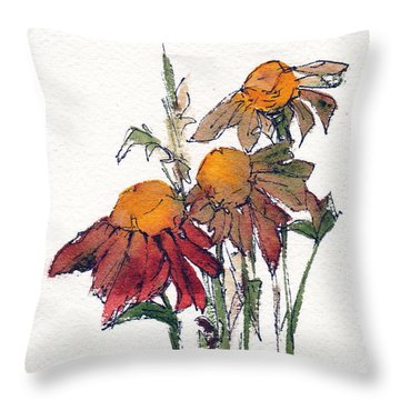 Throw Pillow featuring the painting Sunflower Trio #1 by Anne Duke